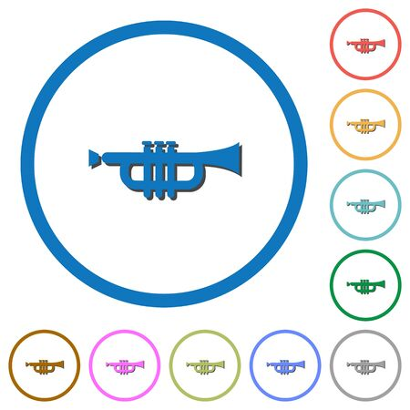 tact: Trumpet flat color vector icons with shadows in round outlines on white background Illustration