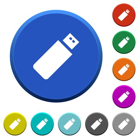 Pendrive round color beveled buttons with smooth surfaces and flat white icons