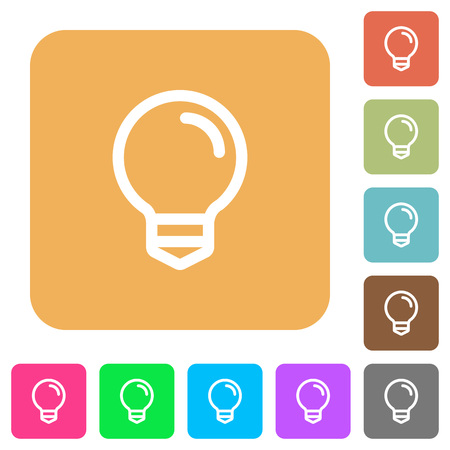 lumen: Light bulb flat icons on rounded square vivid color backgrounds. Illustration