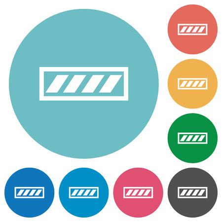 executing: Progress bar flat white icons on round color backgrounds Illustration