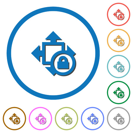 Size lock flat color vector icons with shadows in round outlines on white background