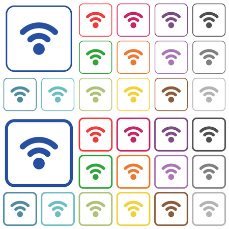 attenuation: Radio signal color flat icons in rounded square frames. Thin and thick versions included. Illustration