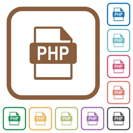 datasets: PHP file format simple icons in color rounded square frames on white background