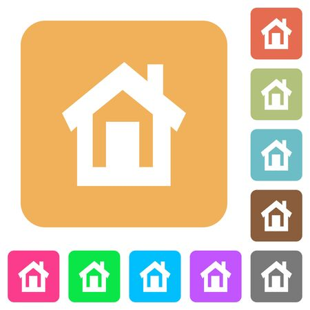 Home flat icons on rounded square vivid color backgrounds.