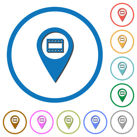 routing: Cinema GPS map location flat color vector icons with shadows in round outlines on white background Illustration