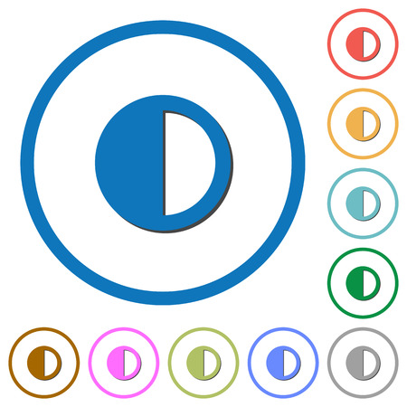 Contrast control flat color vector icons with shadows in round outlines on white background