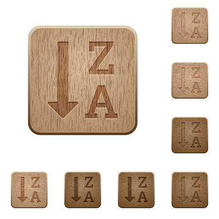 Alfabético descendente lista ordenada en un cuadrado redondeado tallado de madera estilos de botón Ilustración de vector