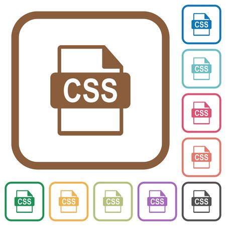 datasets: CSS file format simple icons in color rounded square frames on white background Illustration