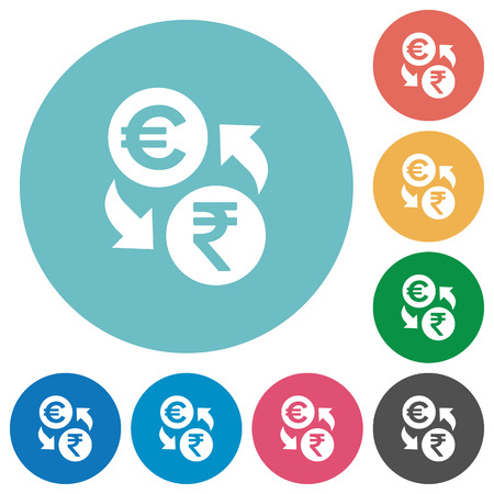 foreign exchange rates: Euro Rupee money exchange flat white icons on round color backgrounds