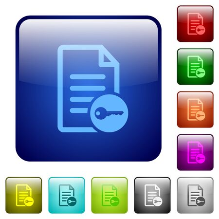to encode: Secure document icons in rounded square color glossy button set