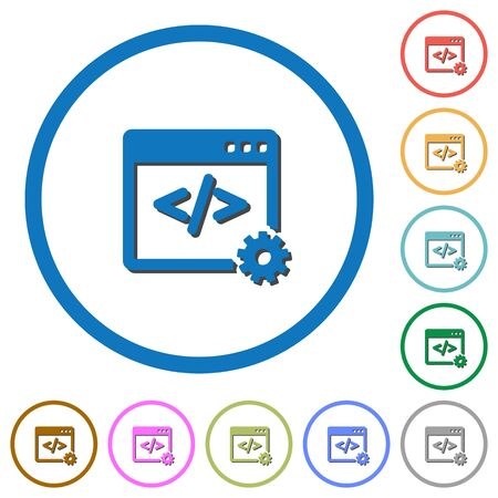 web portal: Web development flat color icons with shadows in round outlines on white background