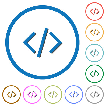 programming code: Programming code flat color icons with shadows in round outlines on white background Illustration