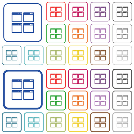 window view: Mosaic window view mode color flat icons in rounded square frames. Thin and thick versions included.