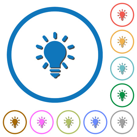 lumen: Lighting bulb as idea concept flat color icons with shadows in round outlines on white background