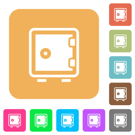 strong box: Strong box round color beveled buttons with smooth surfaces and flat white icons Illustration