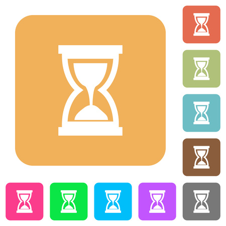 elapsed: Hourglass round color beveled buttons with smooth surfaces and flat white icons Illustration