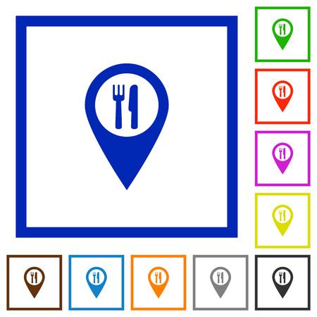 Icônes de couleur plat d'emplacement de carte GPS de restaurant dans des cadres carrés sur fond blanc Vecteurs