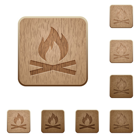 ember: Camp fire on rounded square carved wooden button styles