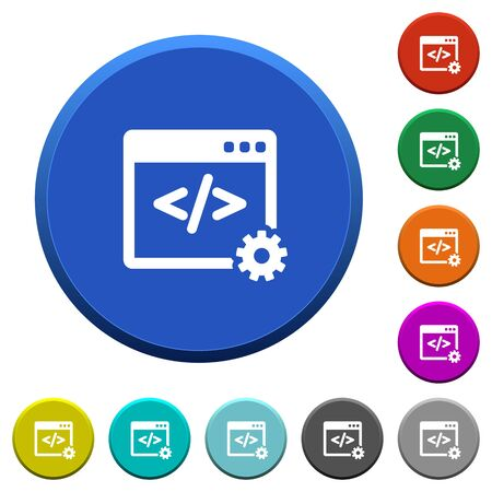 Web development round color beveled buttons with smooth surfaces and flat white icons