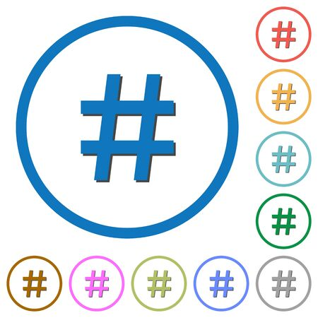hash: Hash tag flat color vector icons with shadows in round outlines on white background