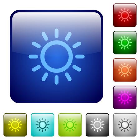 丸みを帯びた正方形の色の光沢のあるボタンで明るさコントロール アイコンを設定します。