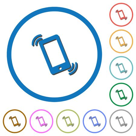 ringing phone: Ringing phone flat color vector icons with shadows in round outlines on white background