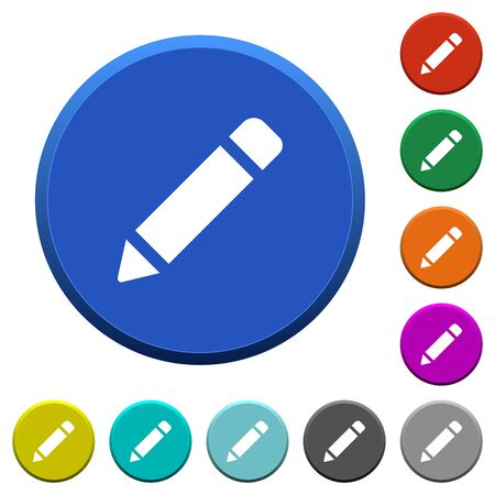 Pencil with rubber round color beveled buttons with smooth surfaces and flat white icons