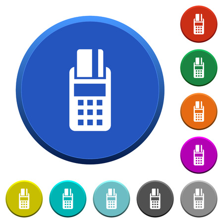 cardreader: POS terminal round color beveled buttons with smooth surfaces and flat white icons