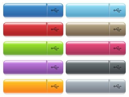 USB connection engraved style icons on long, rectangular, glossy color menu buttons. Available copyspaces for menu captions. Illustration