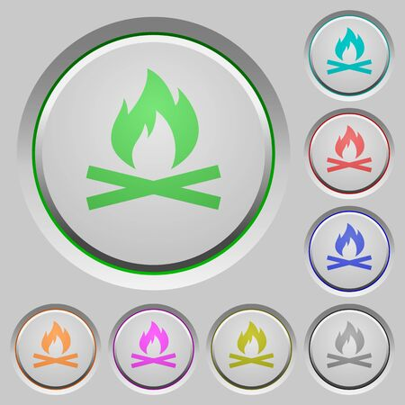 ember: Camp fire color icons on sunk push buttons Illustration