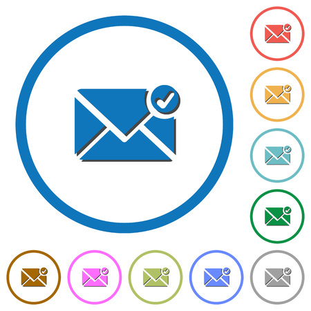 answered: Mail sent flat color vector icons with shadows in round outlines on white background