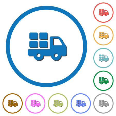 Transport flat color vector icons with shadows in round outlines on white background Illustration