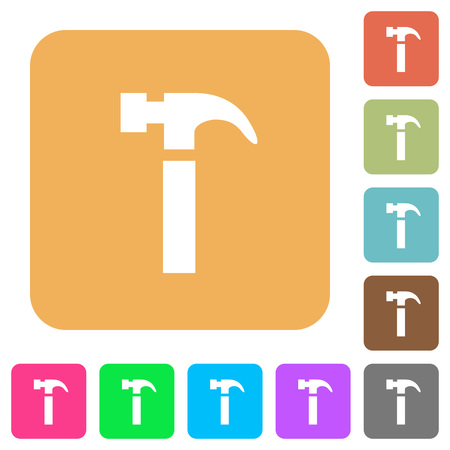 mallet: Hammer flat icons on rounded square vivid color backgrounds.