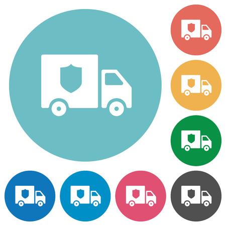 Money deliverer truck flat white icons on round color backgrounds Illustration