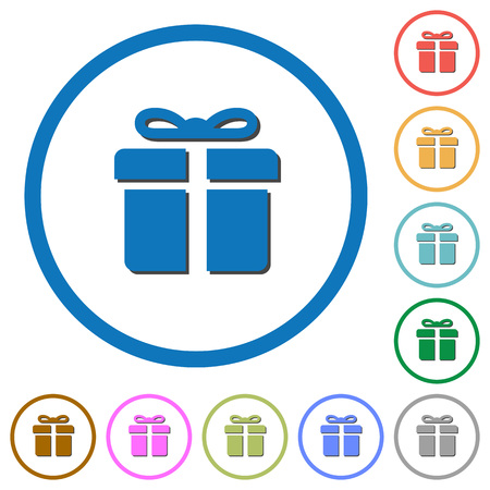 largesse: Gift box flat color vector icons with shadows in round outlines on white background