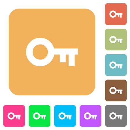 vaulted door: Old key flat icons on rounded square vivid color backgrounds. Illustration