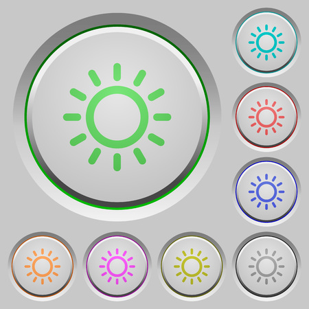luminance: Brightness control color icons on sunk push buttons Illustration