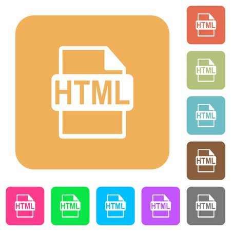 datasets: HTML file format flat icons on rounded square vivid color backgrounds.