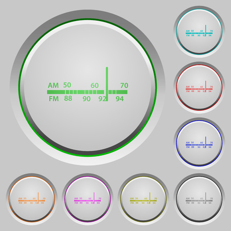am radio: Radio tuner color icons on sunk push buttons