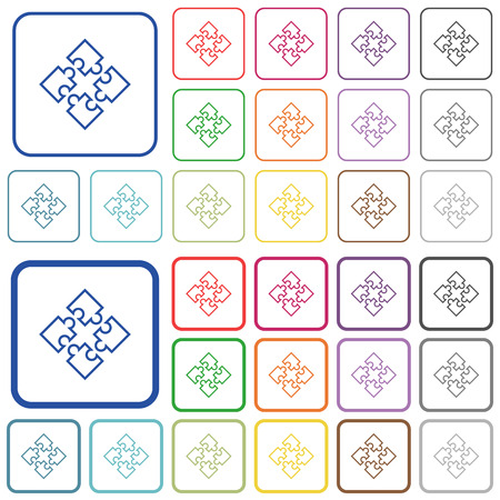 Puzzle pieces color flat icons in rounded square frames. Thin and thick versions included. Illustration