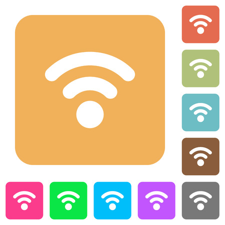 attenuation: Radio signal flat icons on rounded square vivid color backgrounds.