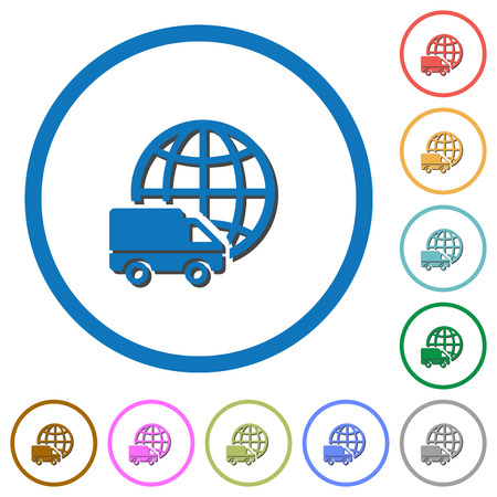 shipper: International transport flat color vector icons with shadows in round outlines on white background Illustration