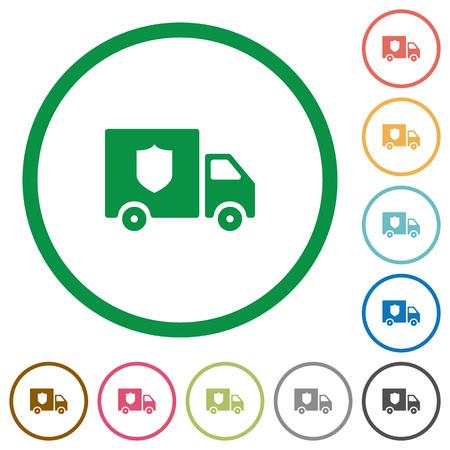 Money deliverer truck flat color icons in round outlines on white background Illustration