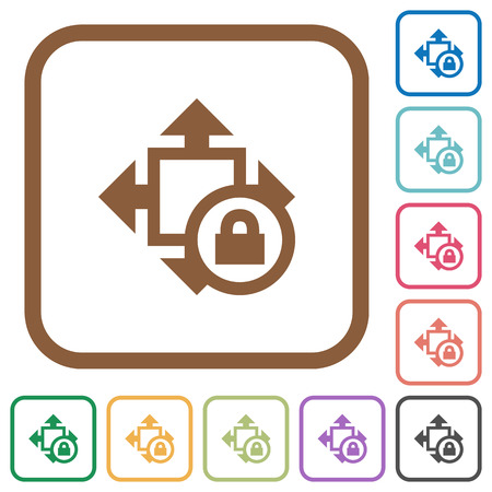 Size lock simple icons in color rounded square frames on white background Illustration