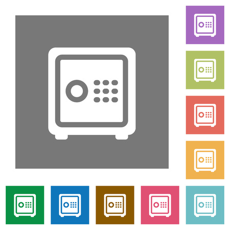 pincode: Strong box flat icons on simple color square backgrounds