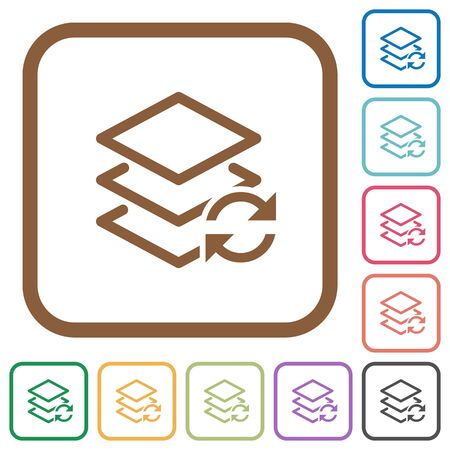 reverse: Swap layers simple icons in color rounded square frames on white background Illustration