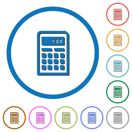 calc: Calculator flat color vector icons with shadows in round outlines on white background