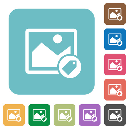 Image tagging white flat icons on color rounded square backgrounds