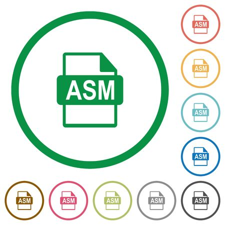 datasets: ASM file format flat color icons in round outlines on white background