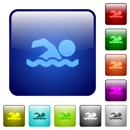 watery: Swimming man icons in rounded square color glossy button set Illustration